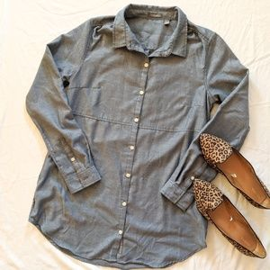 Toad &Co Chambray Long Button Down Tunic